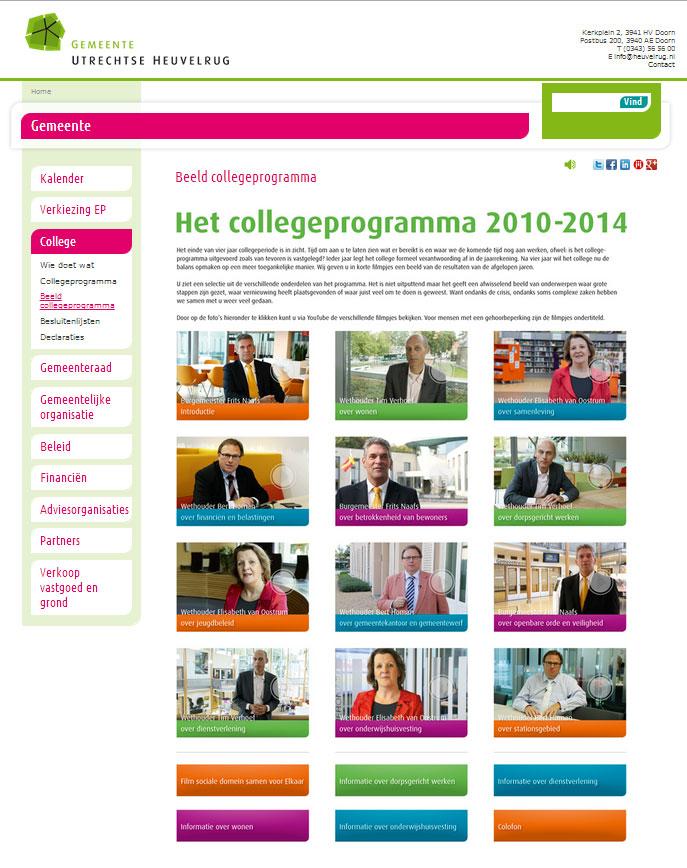 Website gemeente - overzicht college programma